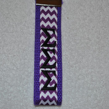 Sigma Sigma Sigma Sorority (OFFICIAL LICENSED PRODUCT) Chevron Monogrammed Key Fob Keychain Cotton Webbing Ribbon Wristlet