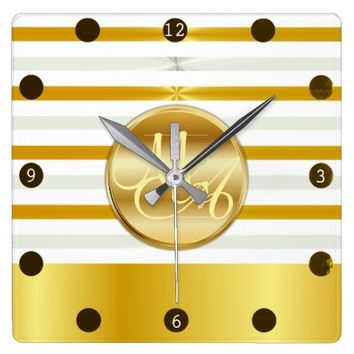 Gold and Silver Stripes, Calligraphy Monogram Square Wall Clock