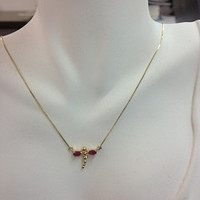 14k gold Dragonfly Necklace with Genuine Ruby stones.