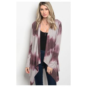 """Adorable Me"" Plum Tie Dye Cardigan"
