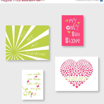 ON SALE Baby Girl Nursery Decor, You Are My Sunshine, Set of 4 prints, Kids wall art in Pink and Chartreuse Green by YassisPlace