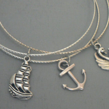 Captain Swan Bangle Charm Bracelet Once Upon A Time Captain Hook and Emma Swan Character ABC Tv Show OUAT Inspired