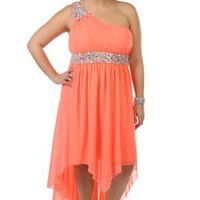 plus size beaded one shoulder chiffon high low hemline prom dress - debshops.com