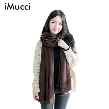 ESBU3C iMucci Solid Winter Scarf Women Warm Long Knitted Cashmere Infinity Scarves Wool scarfs Pashmina Fall Shawl Cape Black Coffee