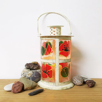 Hand painted Lantern Candle holder Finish Table lantern Garden lighting Hand painted Glass Red poppies Home decor Wedding Lantern Flowers