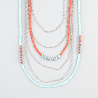 Full Tilt Multi Strand Bead/Chain Necklace Turquoise Combo One Size For Women 24362725901