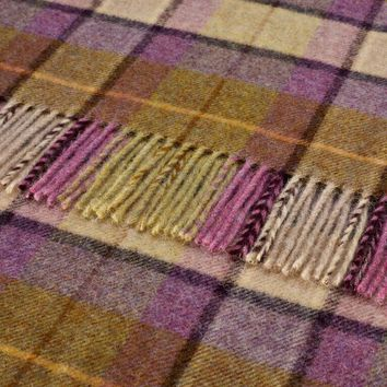 Dales Collection - Gargrave Check - Pure New Wool - Lilac - Throw Blanket