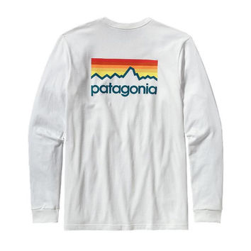 Patagonia Men's Long Sleeve Line Logo T-Shirt- White