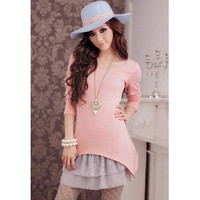 Pink Knitted Two-Piece Dress