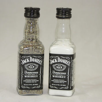 Jack Daniel's Salt and Pepper Shaker, Upcycled Liquor Bottles