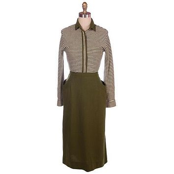 Vintage Knit Top & Matching Skirt Green/White Susan Thomas 1940s New Look 35-26-44