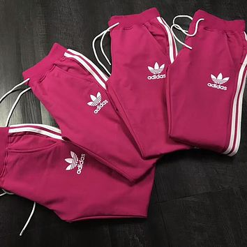 """Adidas"" Popular Women Men Loose Exercise Sport Pants Trousers Boy Girl Sweatpants Rose Red I-AA-XDD"