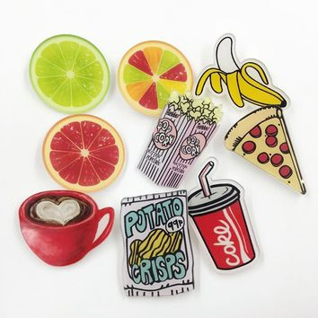 Cartoon Food Drink Acrylic Brooches Pin Badge Clothes Backpack Shoes Package Icon Women Men Jewelry New Year Christmas Gift