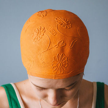 Orange Swimming Cap / Rare Kyiv 1500 & Embossed Flowers Retro Bathing Cap / Rare Floral Soviet Vintage Sport Accessory / USSR Beachwear