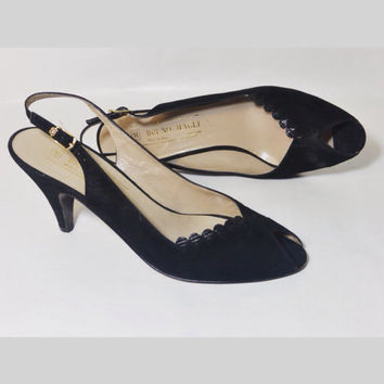 Vintage Bruno Magli Peep Toe Scalloped Italian Leather and Suede Slingback Pumps Size 7-1/2 AAA Extra Narrow