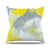 "CarolLynn Tice ""Make A Mess"" Yellow Gray Throw Pillow"