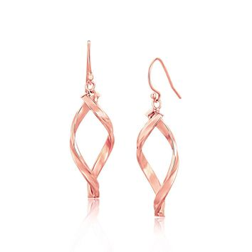 14k Rose Gold Freeform Spiral Motif Drop Earrings