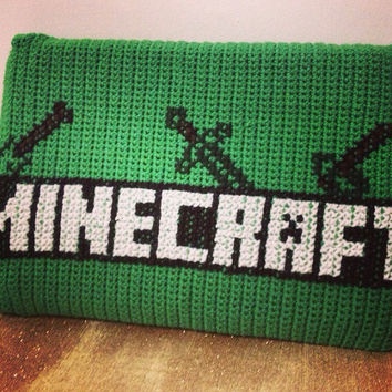 Minecraft Creeper Laptop/Macbook/iPad/Tablet Case - Geekery/Nerd - Handmade Crochet Tech Pouch/Clutch/Bag/Cover - Retro Hipster Accessory