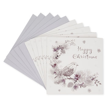 Silver Robin and Wreath Christmas Card Set - 10 Pack