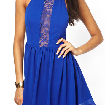 Blue Sleeveless Sheer Lace Cut-Out Pleated Dress