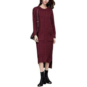 [15698] Vintage Cable Knit Sweater Dress With Pockets