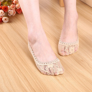 Ladies Korean Lace Transparent Socks [9259042436]