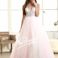 Mac Duggal 48263H Blush V-Neck Ball Gown Prom Dress $450