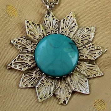 Vintage Sunflower Pendant Necklace In Silver Tone With Turquoise Colored Accent
