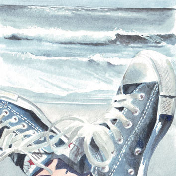 HM047 Original watercolor art Beach painting of Converse All Stars by Helga McLeod