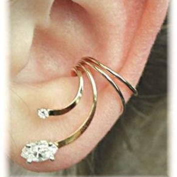 Ear Cuff Marquis - 14K Gold Filled and Sterling Silver - SINGLE SIDE