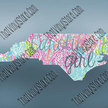 Preppy Carolina Girl Love Decal | North Carolina Vinyl Decal | Southern Girl Preppy Decal | North Carolina Girl | South Caroline Decal | 562