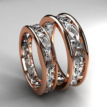 Shop Rose Gold Filigree Wedding Band on Wanelo