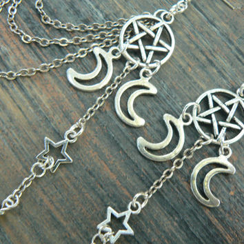 pentagram ear cuff earring chained set Triple moon ear cuff star  in fantasy boho Wicca wiccan witch magic hipster style