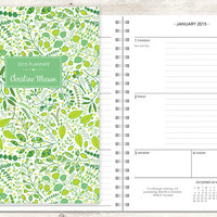 2015 planner | 2015-2016 calendar | custom weekly student planner | personalized planner agenda daytimer | green leaves vines