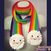 Rainbow Scarf Clouds Happy Faces - Crochet