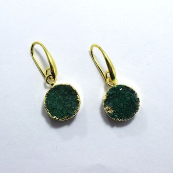 Offer Sale Natural Green Sugar Druzy 24k Gold Plated Earring Jewelry ER-11