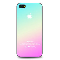 New Pink Aqua Apple Logo Gradient Ombre Silicone iPhone 5 | 5S case