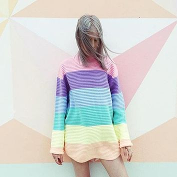 Rainbow Stripes Loose Sweater