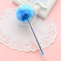 Blue Novelty Gel Pen with Fuzzy Ball Top