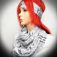Newspaper print Infinity scarf with matching headband
