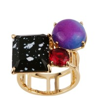 Les Néréides GEOMETRICAL FINERY BLACK, PINK AND BLUE STONE RING