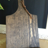 Rustic Wood Cutting Board iPad mini/Tablet Stand with Leather Embellishment