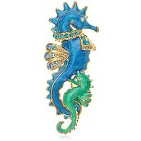 Alilang Gold Tone Pearlescent Blue Green Nautical Sea Horse Family Brooch Pin