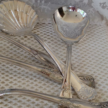 Sheffield Silver Plated Buffet Utensils KINGS Pattern, Elegant Serving, Holiday Table Accessory, Italy