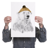 Bob- Polar bear in Yellow Hat - Print