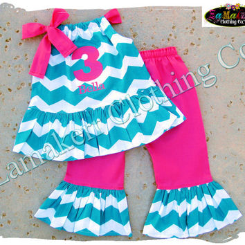 Custom Boutique Girl Aqua Chevron Outfit Set Hot Pink Clothing Toddler Baby Gift Birthday Pant Size 3 6 9 12 18 24 month 2t 3t 4t 5t 6 7 8