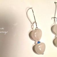 """Earrings: 925 Sterling Silver, Rose Quartz and Swarovski Elements """" I Love You More!"""" By ANena Jewelry"""