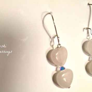 "Earrings: 925 Sterling Silver, Rose Quartz and Swarovski Elements "" I Love You More!"" By ANena Jewelry"