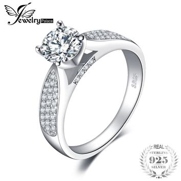 JewelryPalace Fashion Round Cubic Zirconia Wedding Ring For Women Real 925 Sterling Silver Fashion Jewelry Ring Birthday Present
