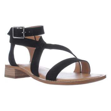 Franco Sarto Alora Flat Cross Strap Sandals, Black, 6 US / 36 EU